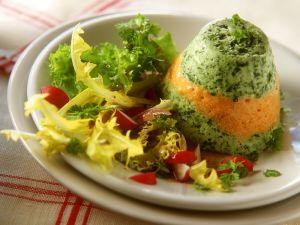 Gemüseflan mit Blattsalat Rezept