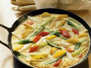 Gemüseomelett mit Spargel und Paprika Rezept