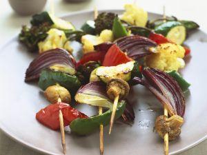 Gemüsespieße mit Kokossauce Rezept