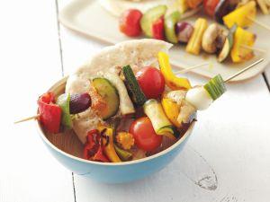 Gemüsespieße mit Pitabrot Rezept