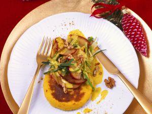 Grießküchlein mit Apfel und Currysauce Rezept