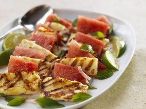 Grillkäse (Halloumi) mit Wassermelone Rezept