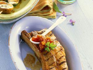 Grillrippchen mit Gemüsespieß und Dip Rezept