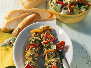 Grillspieße  mit Fleisch und Gemüse Rezept