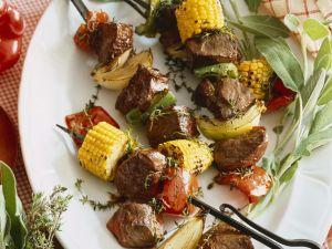Grillspieße mit Gemüse und Rindfleisch Rezept