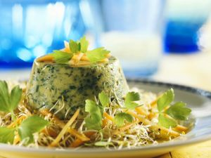Grüner Flan mit Karotten-Sprossen-Salat Rezept