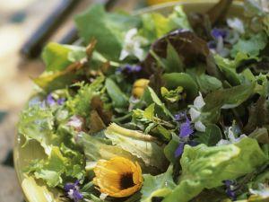 Grüner Salat mit essbaren Blüten Rezept