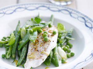 Grünes Gemüse mit Seelachs Rezept
