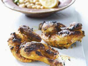Hähnchen auf marokkanische Art mit Kichererbsen Rezept
