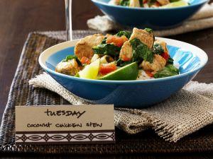 Hähnchen-Geschnetzeltes mit Kokos und Gemüse Rezept