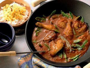 Hähnchen nach kreolischer Art mit Curryreis Rezept