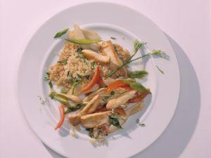 Hähnchen-Pfanne mit Quinoa und Spargel Rezept