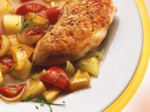 Hähnchenbrust mit fruchtigem Paprikagemüse Rezept