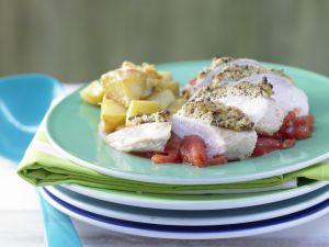 Hähnchenbrustfilet mit Olivenkruste Rezept