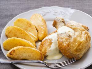Hähnchenkeule mit Apfelweinsauce Rezept