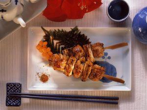 Hähnchenspieße (Yakitori) mit scharfen Gewürzen Rezept