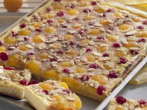 Hefekuchen mit Aprikosen und Kirschen belegt Rezept