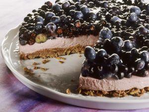 Heidelbeer-Quark-Kuchen mit Schokoladenmüsli-Boden Rezept