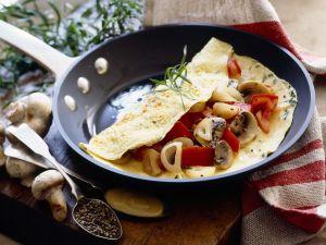 Herzhafter Pfannkuchen mit Pilzen und Paprika Rezept