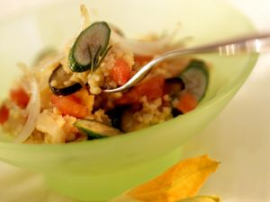 Hirserisotto mit Auberginen und Zucchini Rezept