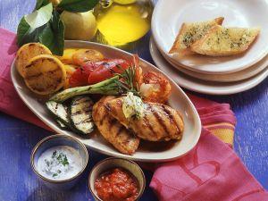 Hühnchenbrust, Shrimps, Gemüse und Weißbrot Rezept