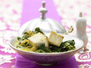 Indischer Käse auf Kokos-Spinat Rezept