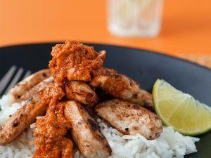 Indisches Hühnchen mit Mangosoße und Reis Rezept
