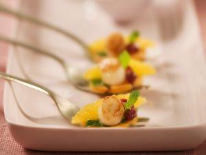 Jakobsmuschel mit Granatapfel und Süßkartoffeln Rezept
