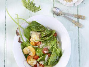 Jakobsmuscheln mit Salat aus Spinat Rezept