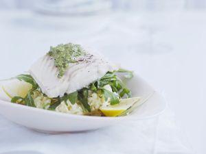 Kabeljau mit Knoblauch-Kartoffelbrei und grüner Marinade Rezept
