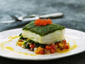 Kabeljau mit Pesto und Gemüse Rezept