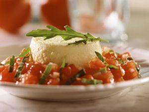 Käse-Flan mit Tomaten-Rucola-Salat Rezept