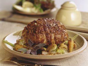 Kalbsbraten mit Senfkörner-Kruste und Gemüse Rezept