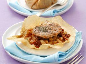 Kalbsschnitzel mit Bohnen en papilotte Rezept