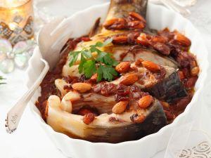 Karpfen mit Lebkuchensoße und Mandeln Rezept