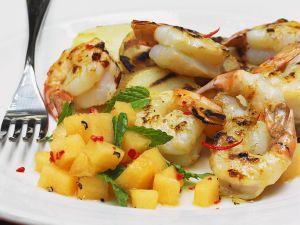 Kartoffel-Garnelen-Auflauf mit Melonensalat Rezept