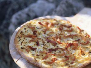 Kartoffelfladen mit Schinken und Zwiebeln Rezept
