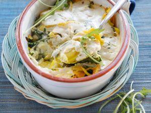 Kartoffelgratin mit Rucola und Mandeln (Vegan) Rezept