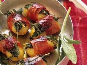 Kartoffeln mit Kräuter-Schinken-Wickel Rezept