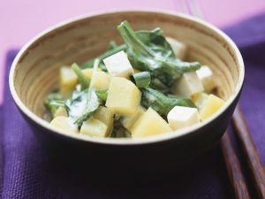 Kartoffeln mit Spinat und Tofu Rezept