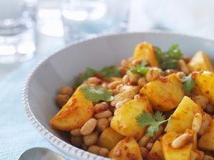 Kartoffelpfanne mit Kichererbsen und Cannellini-Bohnen Rezept