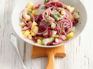 Kartoffelsalat mit Bohnen und Matjes Rezept
