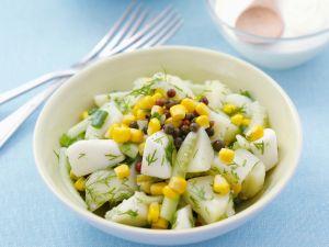 Kartoffelsalat mit Gurke und Mais Rezept