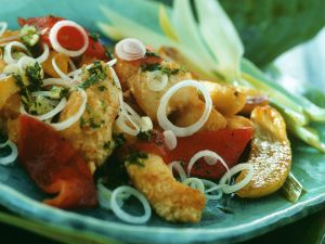 Knusprige Fisch mit Gemüse und Bananen Rezept
