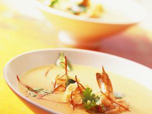 Kokos-Currysuppe mit Garnelen Rezept