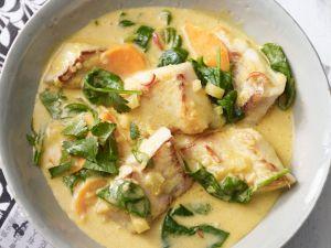 Kokos-Fisch-Curry mit Blattspinat Rezept