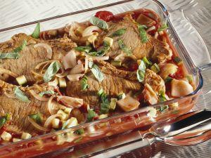 Koteletts mit Speck-Gemüse Rezept