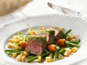 Kräuter-Lammrücken mit Gemüse Rezept