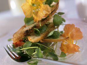 Kressesalat mit Brotchips Rezept