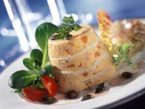 Kürbisflan mit Kürbiskernen und Salat Rezept